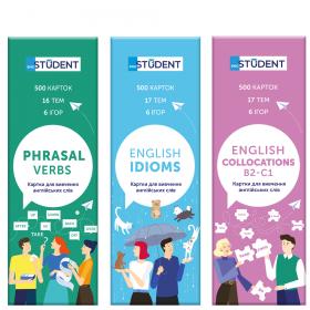 Картки для вивчення іноземних мов English Student —  Idioms & Phrasal verbs & Collocations 1500 карток
